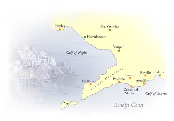 Map of the Amalfi Coast: Capri, Pompei, Positano, Amalfi, Ravello, Salerno
